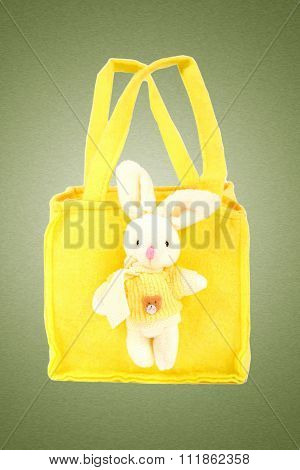 Yellow Bag With A Toy Hare.