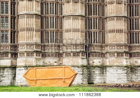 Closeup Photo Of Westminster Palace With Big Garbage Container, London