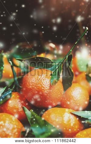 Christmas Decoration With Fresh Tangerines And Snowflakes. Christmas Or New Year Concept With Copy S
