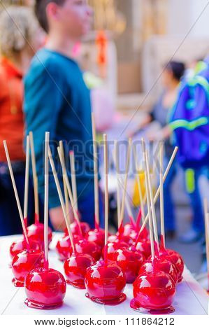 Candy Apples On Sale In A Christmas Market
