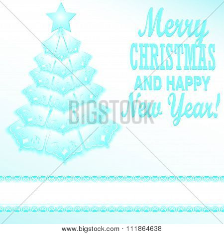 Illustration Of A Blue Christmas Tree Festive Paper Style