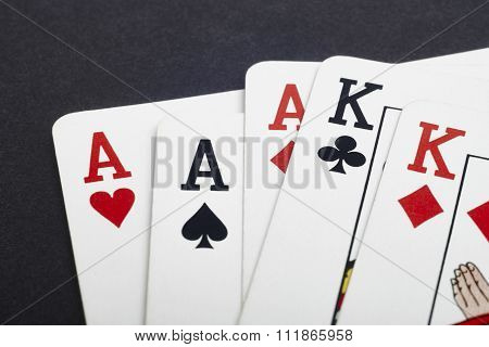 Poker Card Game With Aces And Kings Full. Black Background