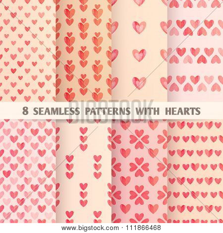 Set Of Eight Seamless Patterns With Hearts. Vector Illustration, Eps10.