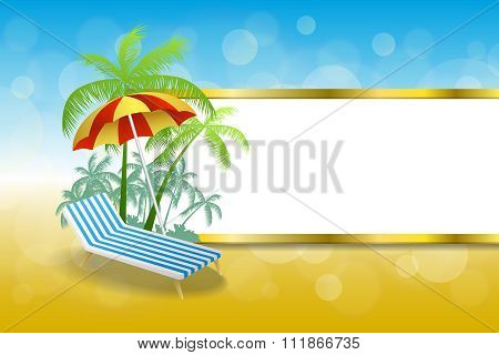 Background abstract summer beach vacation deck chair umbrella blue yellow stripes gold frame
