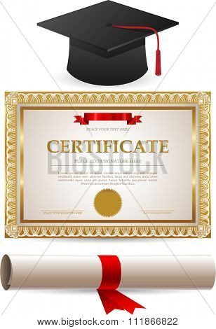 Diploma gold certificate and graduation cap isolated on white background