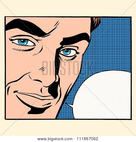 Face beautiful men comic bubble