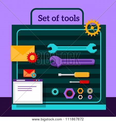 Set of Tools for Seo Flat Design