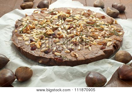 Typical Italian Sweet Chestnut Cake Made With Chestnuts