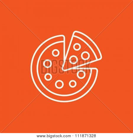 Whole pizza with a slice line icon for web, mobile and infographics. Vector white icon isolated on red background.