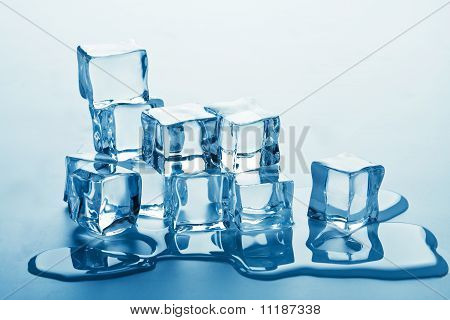 Stack Of Melting Ice Cubes