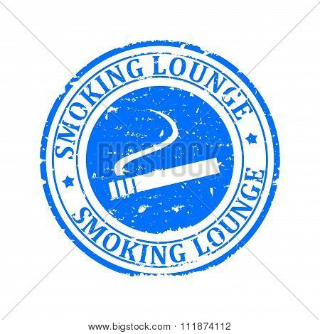 Damaged Blue Round Stamp With The Inscription - Smoking Lounge - Illustration