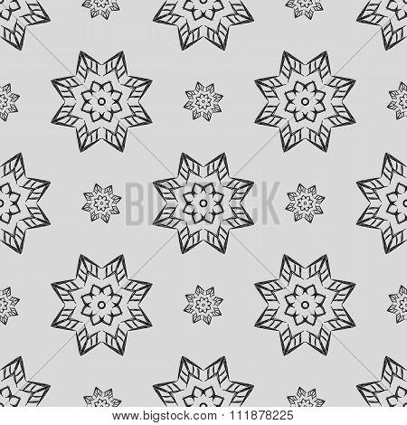 Light Gray Seamless Pattern Of Openwork Stars