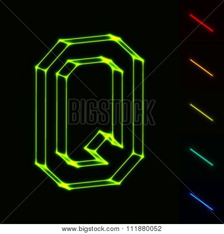 EPS10 vector glowing wireframe letter Q - easy to change color