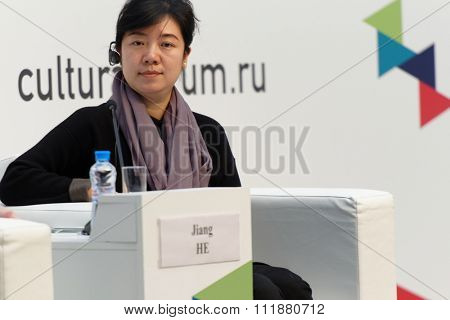 ST. PETERSBURG, RUSSIA - DECEMBER 15, 2015: Jiang He at the Russian-Chinese Conference on Arts Education during 4th St. Petersburg International Cultural Forum