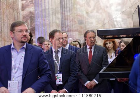 ST. PETERSBURG, RUSSIA - DECEMBER 14, 2015: Russian Minister of Culture Vladimir Medinsky (center) opened the exhibition Territory Of Culture during 4th St. Petersburg International Cultural Forum