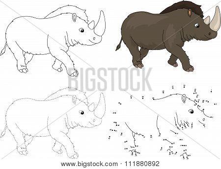 Cartoon Prehistoric Rhinoceros. Vector Illustration. Dot To Dot Game For Kids
