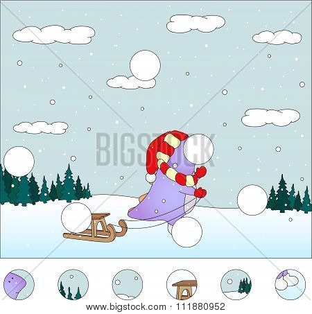 Purple Dragon With Sled In The Winter Forest: Complete The Puzzle And Find The Missing Parts Of The