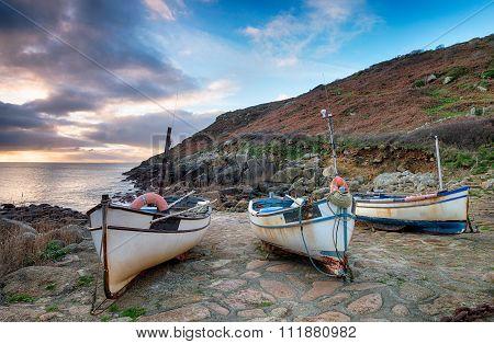 Dawn At Penberth Cove In Cornwall