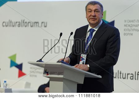 ST. PETERSBURG, RUSSIA - DECEMBER 14, 2015: Vice-governor of St. Petersburg Igor Albin at the plenary meeting during 4th St. Petersburg International Cultural Forum
