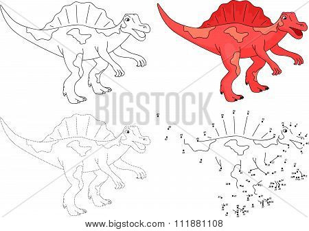 Cartoon Spinosaurus. Vector Illustration. Dot To Dot Game For Kids