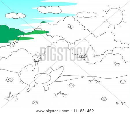 Cute Chubby Dragon Is Playing With Dragonflies And Butterflies On Blooming Spring Meadow. Coloring B