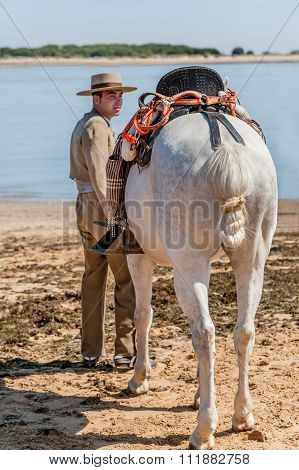 Horse And Rider At Sanlucar De Barrameda