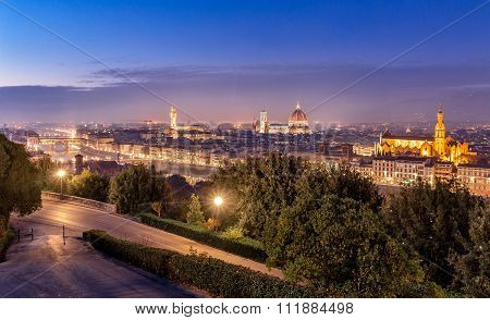 Florence Night Cityscape Panorama After Sunset