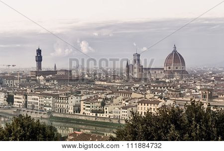 Florence Landscape Panorama At Dusk. Palazzo Vecchio And Santa Maria Del Fiore Dome At Background