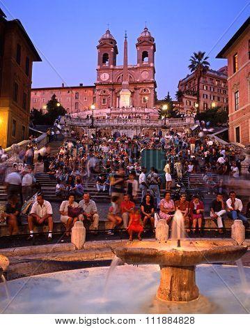 The Spanish Steps at dusk, Rome.