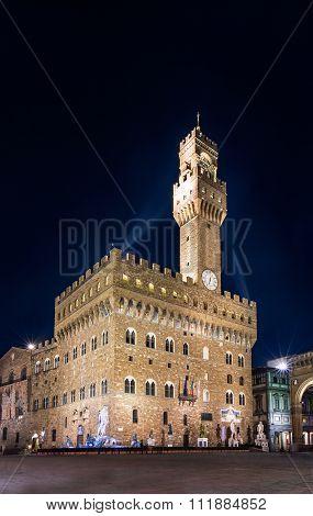 Florence Night View Of Palazzo Vecchio In Piazza Della Signoria With Clock Tower