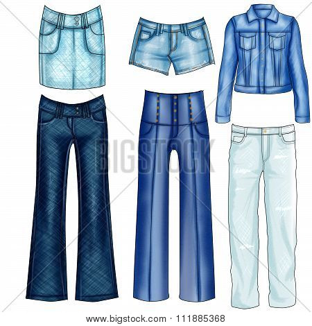 Fashion Illustration of different denim and jeans clothes - Set of denim clothes