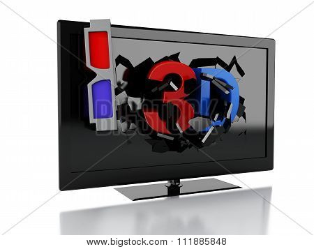 3D Tv Led. Cinema Concept