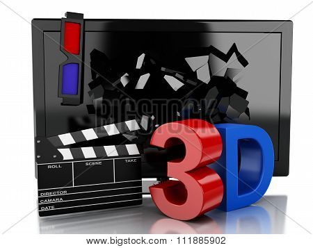 3D Tv Led And Clapper Board. Cinema Concept