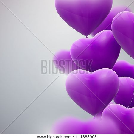 flying bunch of balloon hearts