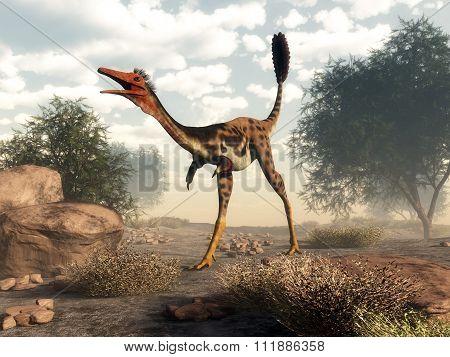 Mononykus dinosaur in the desert - 3D render