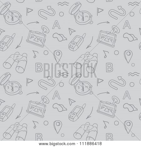 Navigation Hand Drawn Doodles Seamless Pattern With Car Navigator, Binoculars, Compass Vector Illust