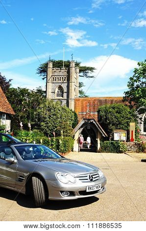 Mercedes and church, Hambledon.