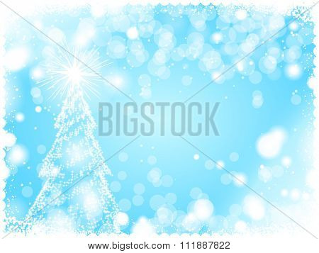 Abstract Light Blue Winter Background with a Christmas tree created by Lights
