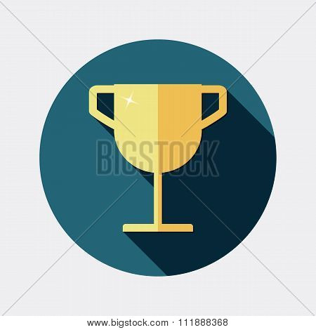 Flat design award gold trophy cup icon with long shadow