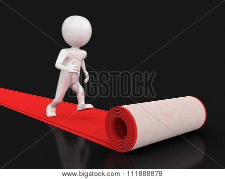 Red Carpet and man. Image with clipping path