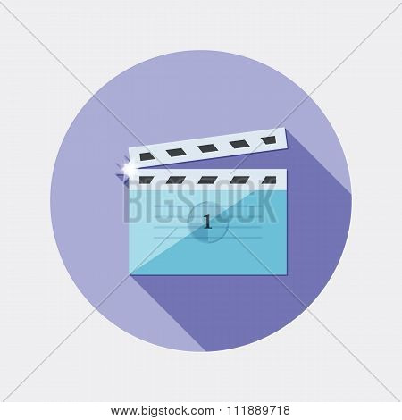 Flat design cinema clap icon with long shadow