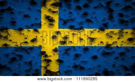 Sweden flag, The Swedish painted on wall with bullet holes