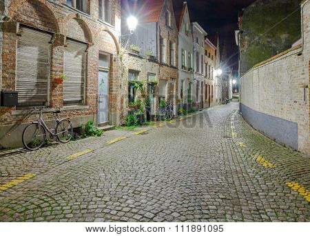 Bruges streets at night.