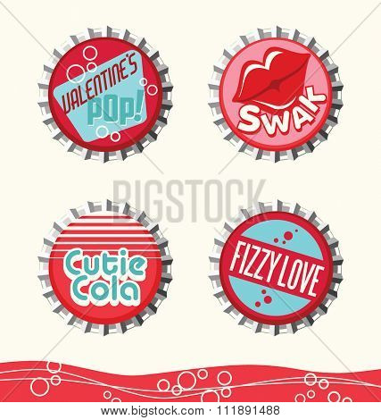 retro valentine designs for gift tags, stickers and cards. bottle caps set 2