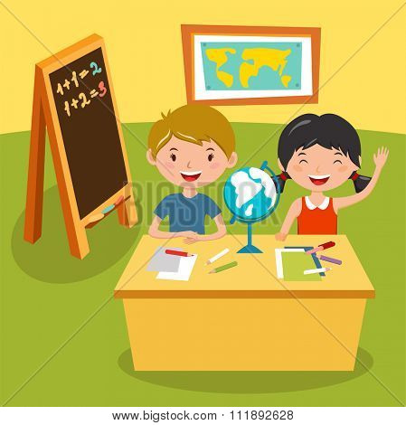 Kids school geography lessons illustration. Geographic globe and kids in classroom. Children sitting on desk. Kids school vector. Boys, girls vector cartoon. Pre-school illustration. School kids
