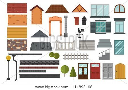Family house vector design elemets. House building elements isolated on white background. Cottage home house building elements. House vector, house building. Cottage house construction elements