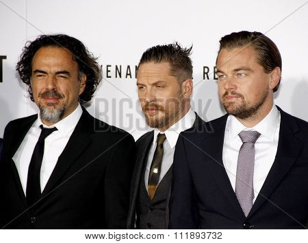 Alejandro Gonzalez Inarritu, Leonardo DiCaprio and Tom Hardy at the Los Angeles premiere of 'The Revenant' held at the TCL Chinese Theatre in Hollywood, USA on December 16, 2015.