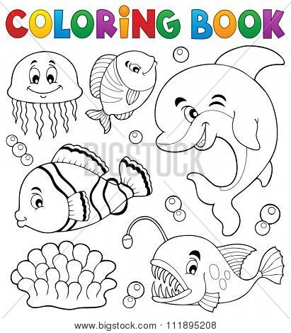 Coloring book ocean fauna topic 1 - eps10 vector illustration.