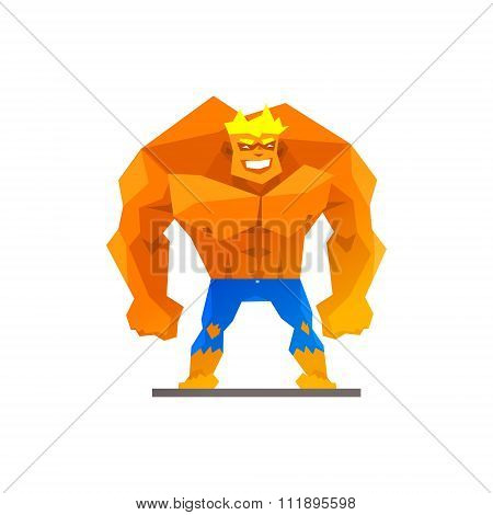 Muscular man shows his strength vector