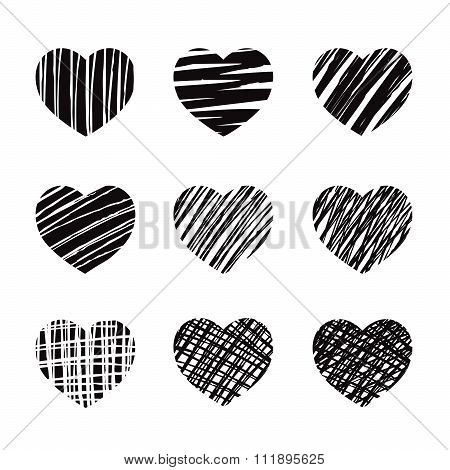 Set Of Black Vector Heart Icon